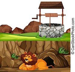 caricatura, plano de fondo, acostado, bien, cueva, parque, león, animal, estilo, postura