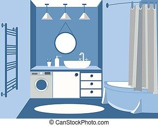 caricatura, plano, interior, color., cuarto de baño, minimalista, style., azul, vector, design.