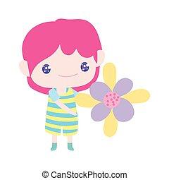 caricatura, poco, hermoso, tenencia, niño, lindo, flor