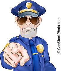 caricatura, policía