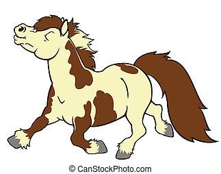 caricatura, poney