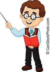 caricatura, profesor, macho