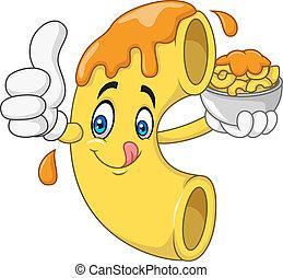 caricatura, queso, macarrones, carácter