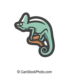 caricatura, rama, camaleón, icono, illustration., vector