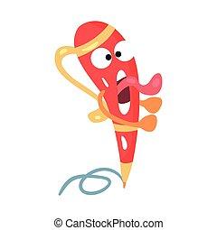 Caricatura roja y asustada humanizada con plumas temblando de miedo vector de la ilustración