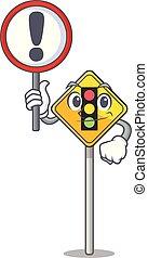 caricatura, señal de tráfico, luz, adelante
