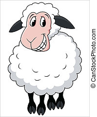 caricatura, sheep, sonriente