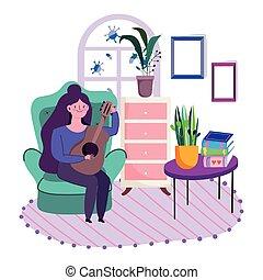 caricatura, tabla, libros, joven, tocar la guitarra, habitación, hogar, mujer, estancia