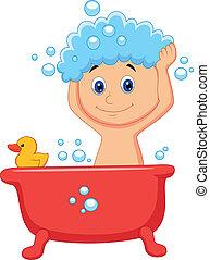 caricatura, teniendo, lindo, niño, baño