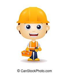 caricatura, trabajador edificio