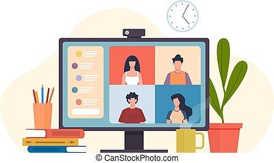 caricatura, vídeo, reunión, concepto, plano, remoto, en línea, vector, o, comunicación, virtual, trabajo, trabajo en equipo, amigos, software, oficina, computadora, colegas, grupo, encontrar, conferencing., escritorio