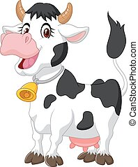 caricatura, vaca, feliz