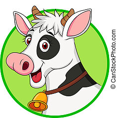 caricatura, vaca, lindo