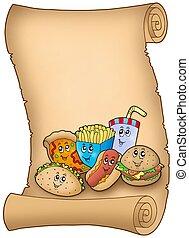 caricatura, vario, comidas, pergamino