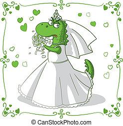 caricatura, vector, bridezilla