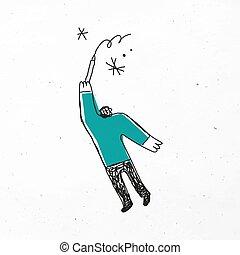 caricatura, vector, hombre, estrella, icono, dibujo