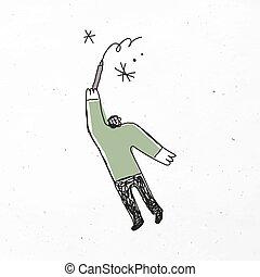 caricatura, vector, hombre, verde, icono, dibujo