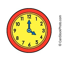 caricatura, vector, reloj, pared