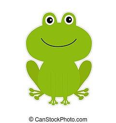 caricatura, verde, lindo, frog.
