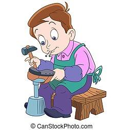 caricatura, zapatero, niño