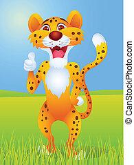 caricaturas de Cheetah con pulgar hacia arriba