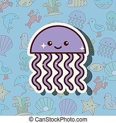 Caricaturas de la vida marina de Medusa