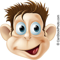 carita feliz, reír, mono, caricatura
