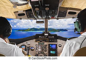 carlinga, isla, avión, pilotos