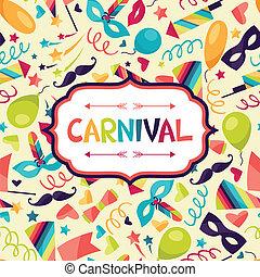 carnaval, festivo, iconos, plano de fondo, objects., celebración