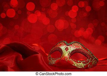carnaval, vendimia, máscara, veneciano, plano de fondo, rojo