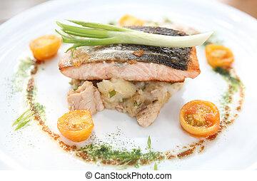 Carne asada de salmón