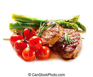 carne, carne de vaca, vegetales, steak., asado parrilla, barbacoa, filete, barbacoa