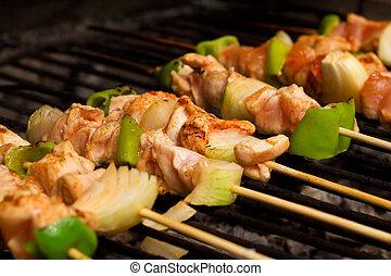 Carne de pollo y verduras de barbacoa