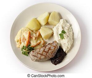 Carne de ternera con verduras gourmet de arriba