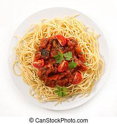 carne de vaca picadita, espaguetis, placa, salsa, tomate