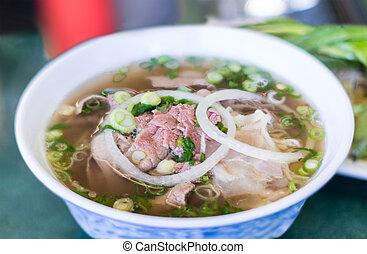carne de vaca, sopa, pho, vietnamita, fideo