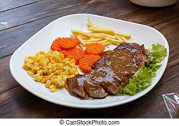 Carne en un primer plano de comida