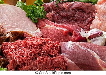 carne fresca, plano de fondo, crudo