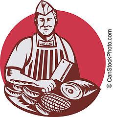 carne, trabajador, carnicero, retro, cuchilla de carnicero, cuchillo, cortador