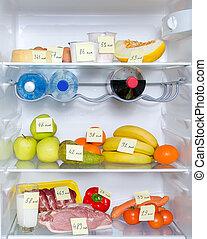 carne, vegetales, abierto, calorías, fruits, marcado, refrigerador lleno