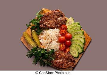 carne, vista, ensalada, vegetales, filete