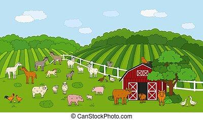 carnero, madre, pollo, garabato, caricatura, conjunto, granero, caballo, gallo, campos, gato, casa, goat, rojo, cerdo, animales, vaca, campo, sheep, vaquita, conejo, contorno, vector, toro, bebé, lindo, mascota, farm., liebre, bosque