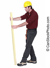 Carpenter inspecciona la tabla de madera