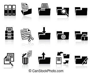 carpeta, conjunto, negro, iconos