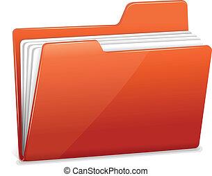 carpeta, documentos, rojo, archivo