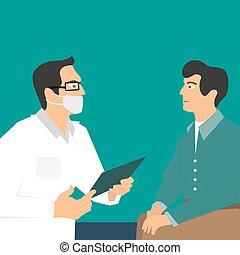 carpeta, el suyo, paciente, doctor, doctors, mano., cita, máscara