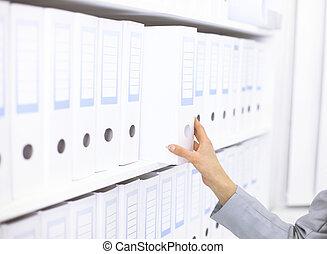 carpetas, estante, documentos