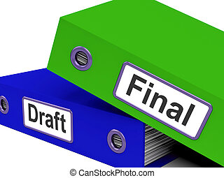 carpetas, rewrite, corregir, bosquejo, documento, final, medio