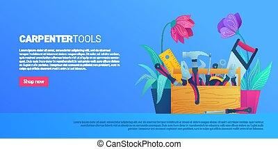 carpintero, diy, tienda, tela, bandera, herramientas