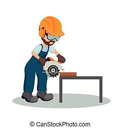 Carpintero macho cortando una plancha de madera con sierra circular con equipo de seguridad industrial. Diseño de sierra industrial. Ilustración de vectores